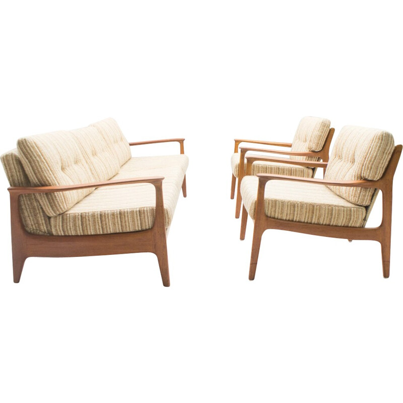 Vintage living room set made of 1 Sofa & 2 Armchairs in Teak by Eugen Schmidt for Soloform - 1960s
