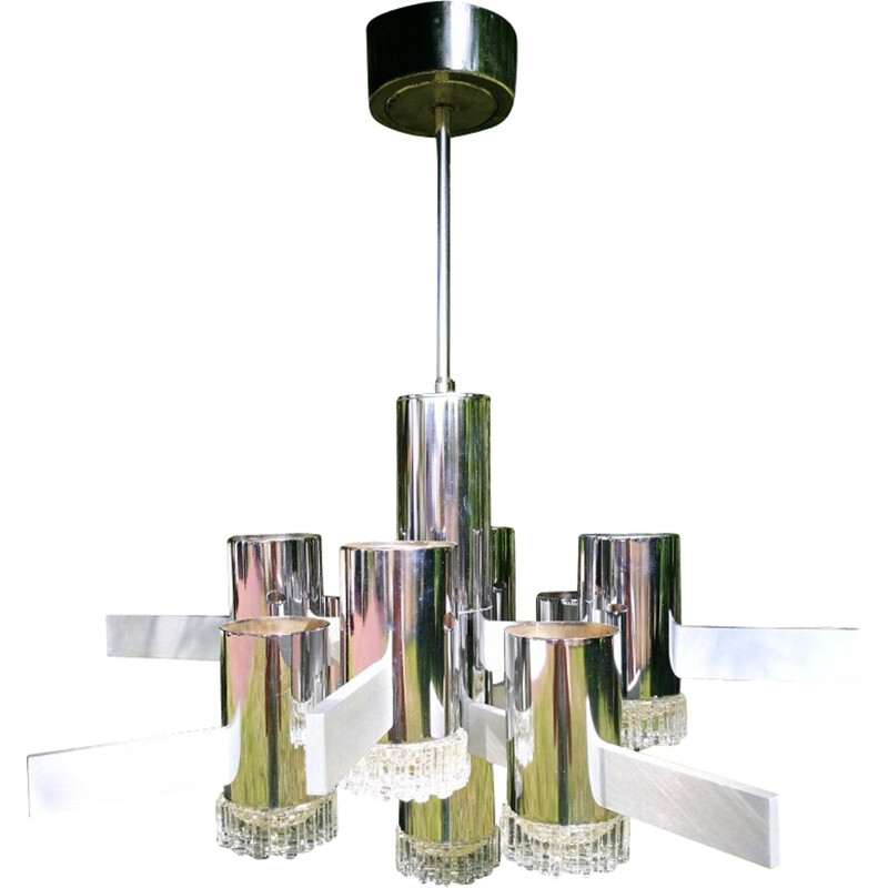 Vintage chandelier with 9 lights in chrome and brushed metal by Gaetano Sciolari - 1970s