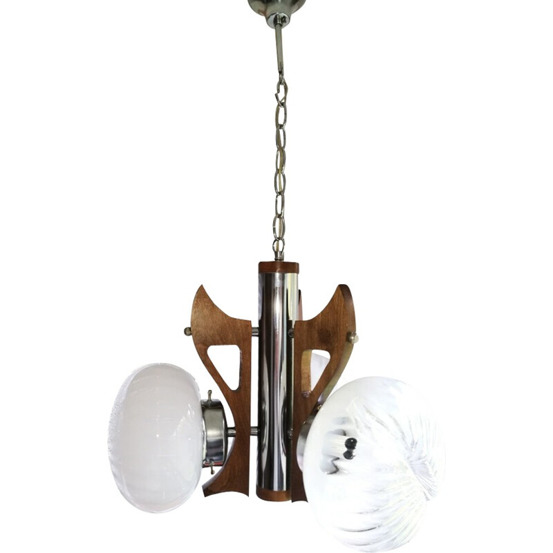 Italian chandelier with 3 glass globes in chrome and stained wood by the glassware Mazzega - 1970s
