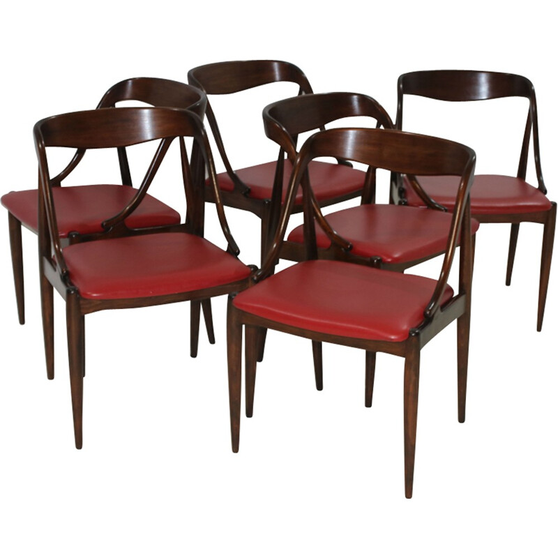 Set of 6 vintage red dining Chairs in beech by Johannes Andersen for Moreddi and Uldum - 1960s
