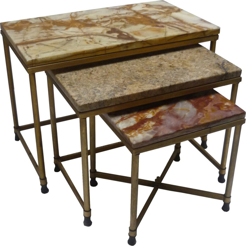 Set of 3 vintage nesting tables in gilded metal and marble - 1960s