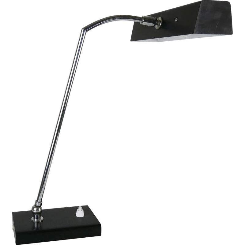 Modern black adjustable desk light - 1970s