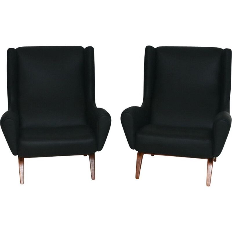 Set of 2 Model 110 Easy Chairs by Illum Wikkelso - 1960s