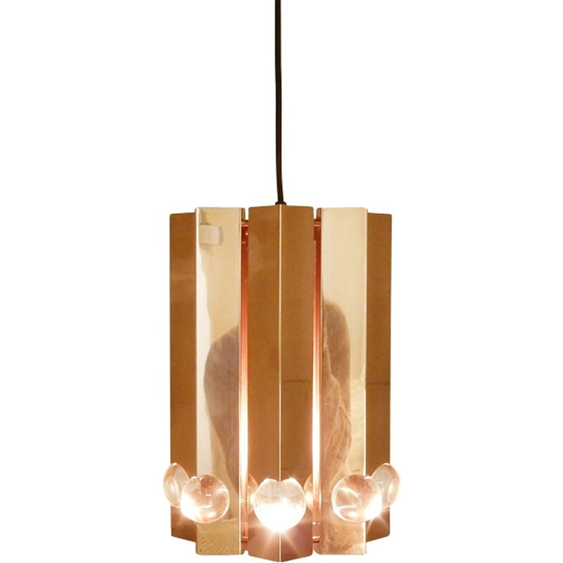 Mid-century Polished copper pendant light by Gebrüder Cosack - 1960s