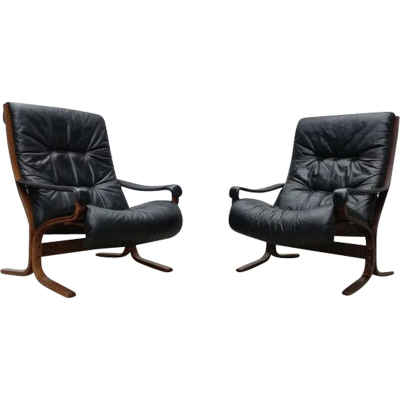 Pair of mid-century Siesta leather armchairs by Ingmar Relling - 1960s