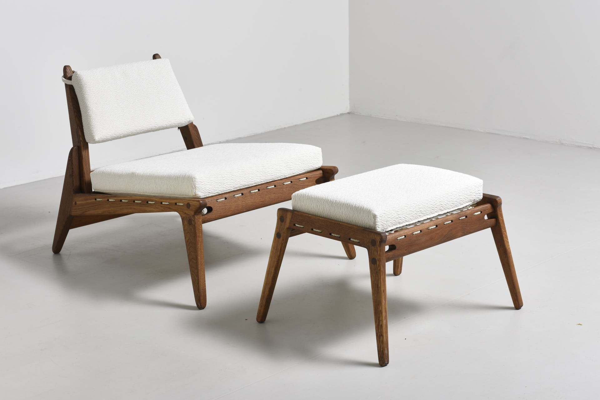 Mid century German White Textile Hunting Chair & Ottoman 1950s