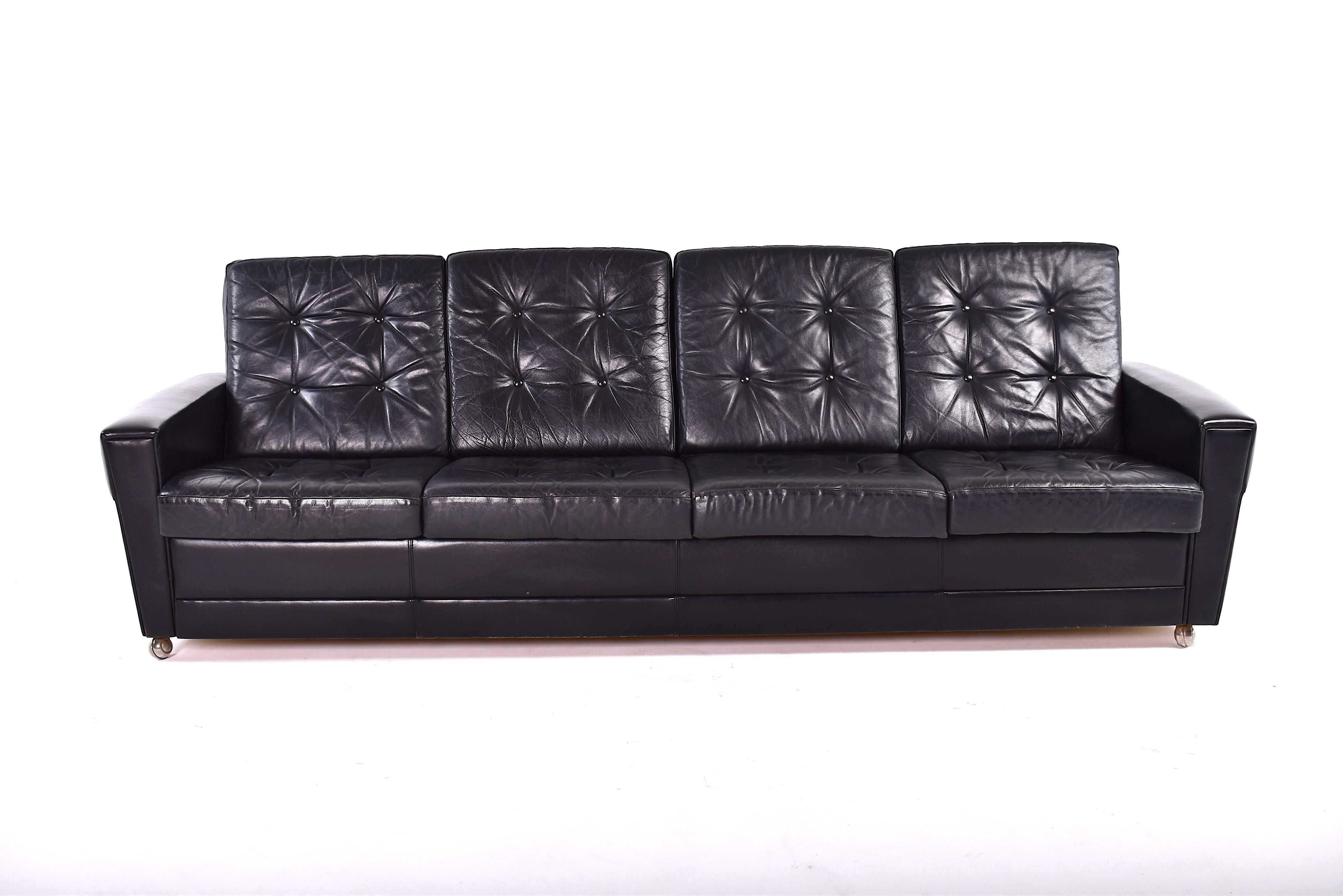 4 Seater Leather Mid Century Sofa 1960s