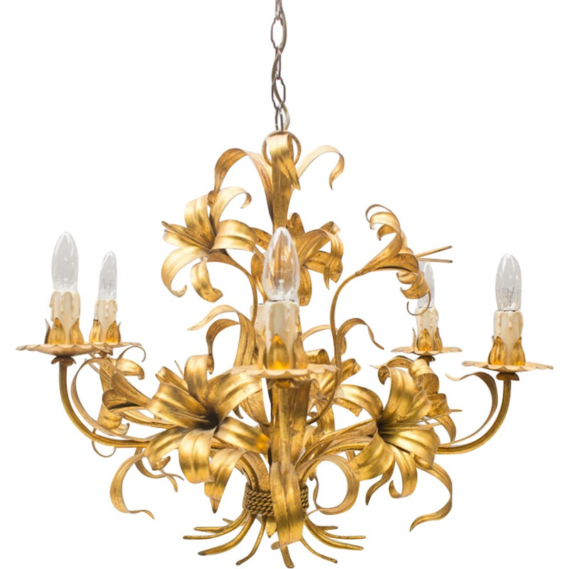Vintage Gilded Chandelier by Hans Kögl - 1960s