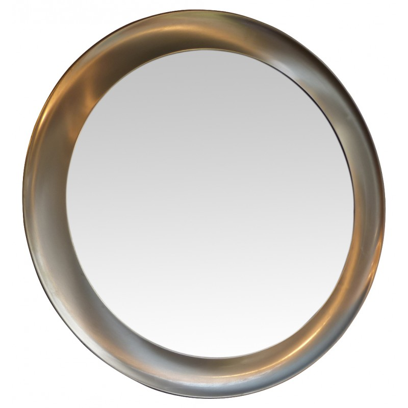 Round Vintage Mirror In Brushed Aluminium 1970s
