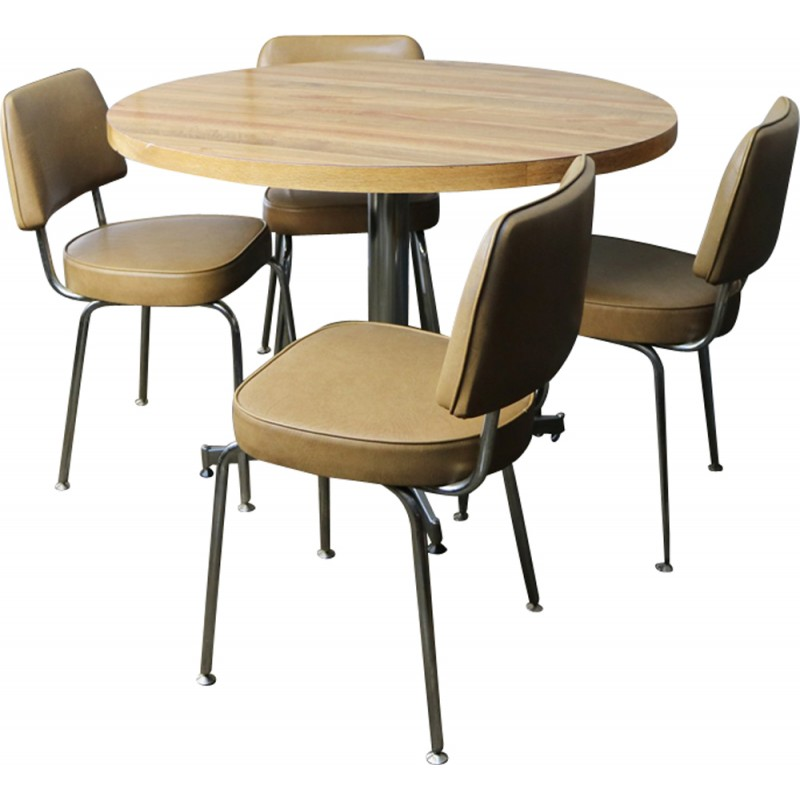 Vintage Small Dining Table And 4 Vinyl Chrome Chairs 1960s
