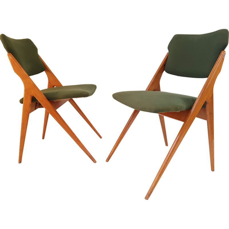 Vintage pair of chairs by Gérard Guermonprez for Godfrid - 1950s