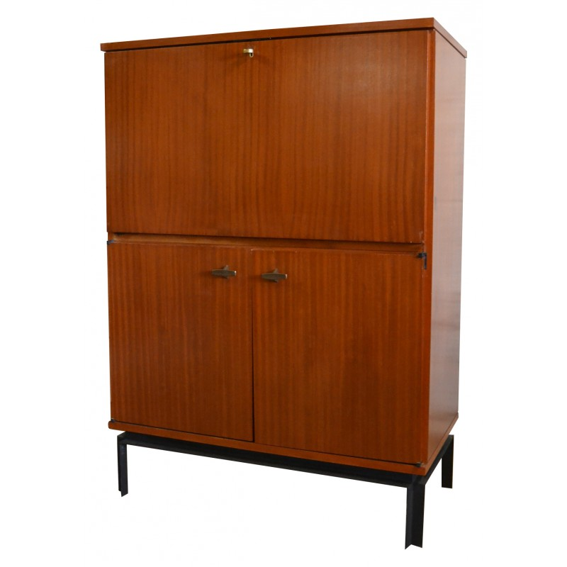Secretary in veneer of rosewood and metal, Marcel GASCOIN - 1960s