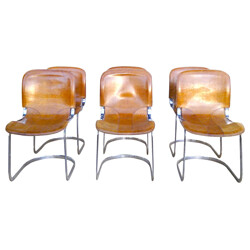 "Set of 6 chairs ""CIDUE"" in leather and chrome steel - 1970s"