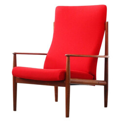 Armchair in teak and red fabric, Grete JALK - 1960s