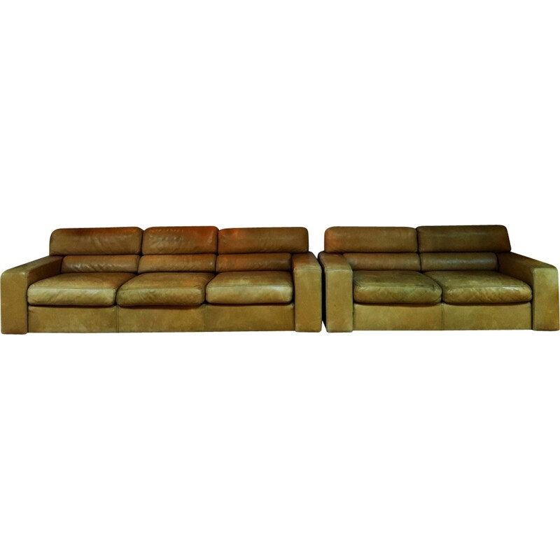 Vintage 2 seater leather sofa by Durlet - 1970s