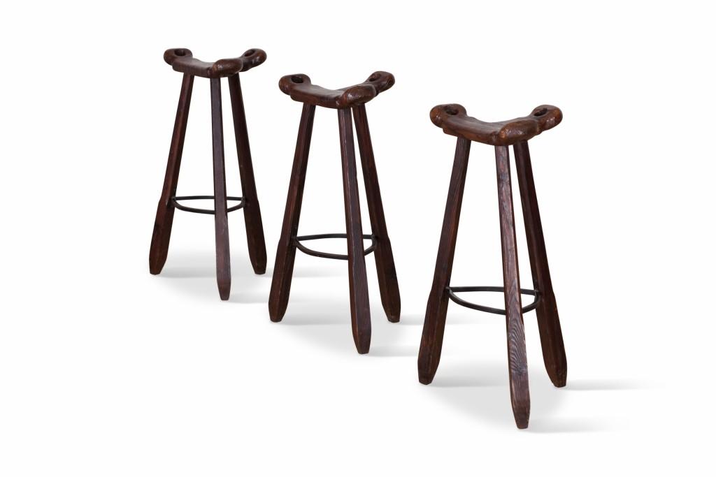 "vintage set of 3 ""marbella"" oak bar stools - 1970s - design market 1970s Bar Stools"