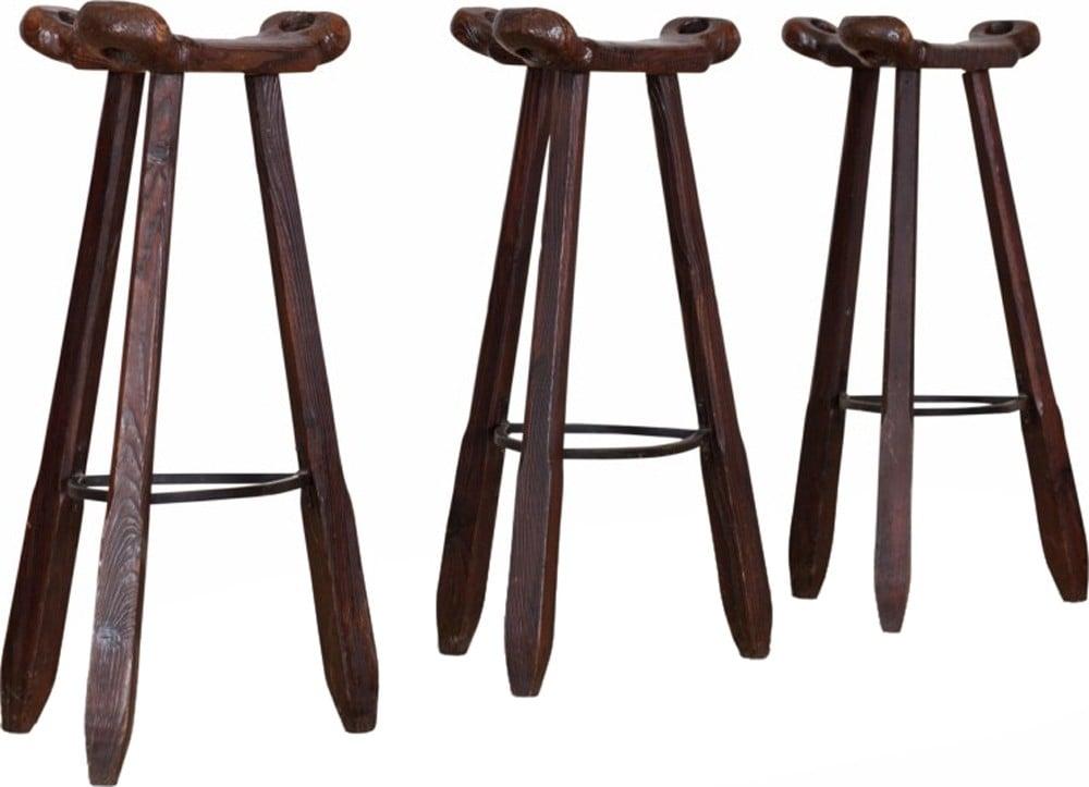 vintage set of 3 marbella oak bar stools 1970s design market. Black Bedroom Furniture Sets. Home Design Ideas
