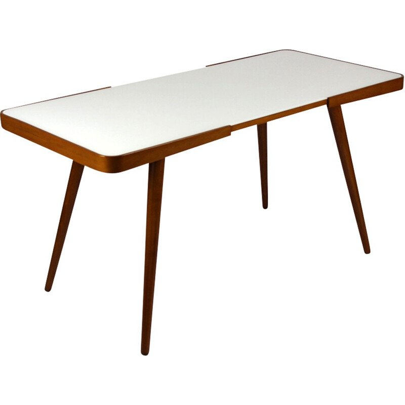 Vintage Coffee Table with White Glass Top by Jiri Jiroutek for Interier Praha - 1960s