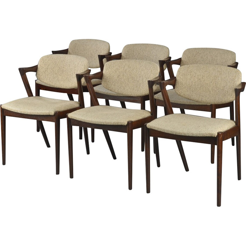 Vintage set of 6 stained oak armchairs model 42 by Kai Kristiansen - 1960s