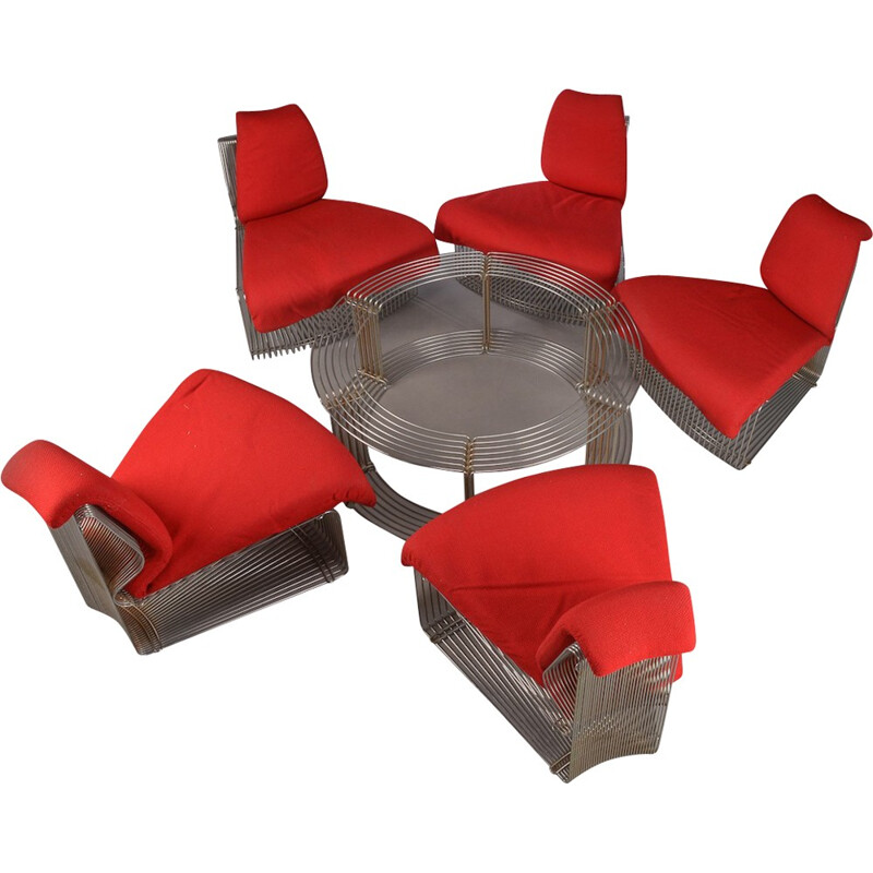 Vintage set of sofas and table by Verner Panton - 1970s