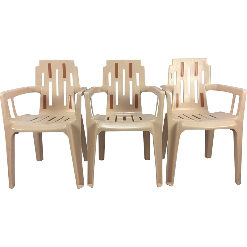 Vintage Set of 3 Boston Garden Chairs by Pierre Paulin for Herny Massonnet Stamp - 1980s
