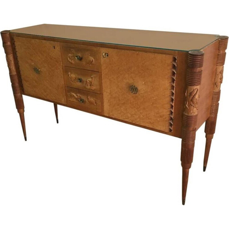 Italian Light Carved Wood Sideboard by Pier Luigi Colli - 1950s