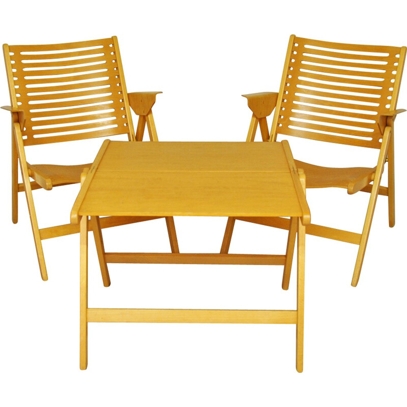 Rex Folding Chairs & Table Set by Niko Kralj - 1950s