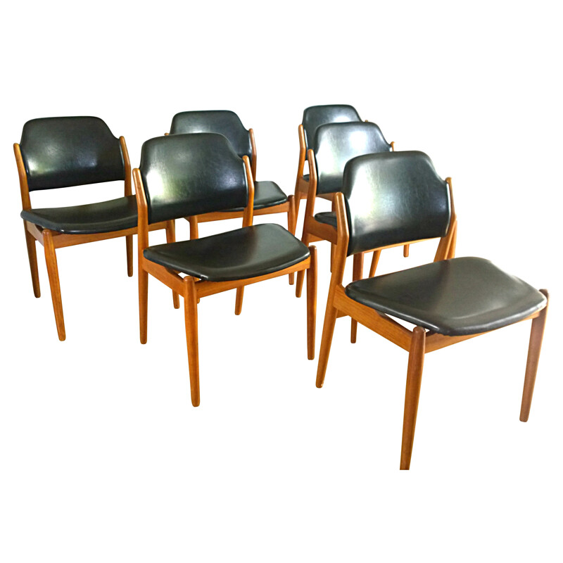 Set of 6 chairs 62S in teak and leather, Arne VODDER - 1960s