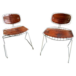 "Pair of ""Beaubourg"" chairs in leather and metal, Michel CADESTIN - 1970s"