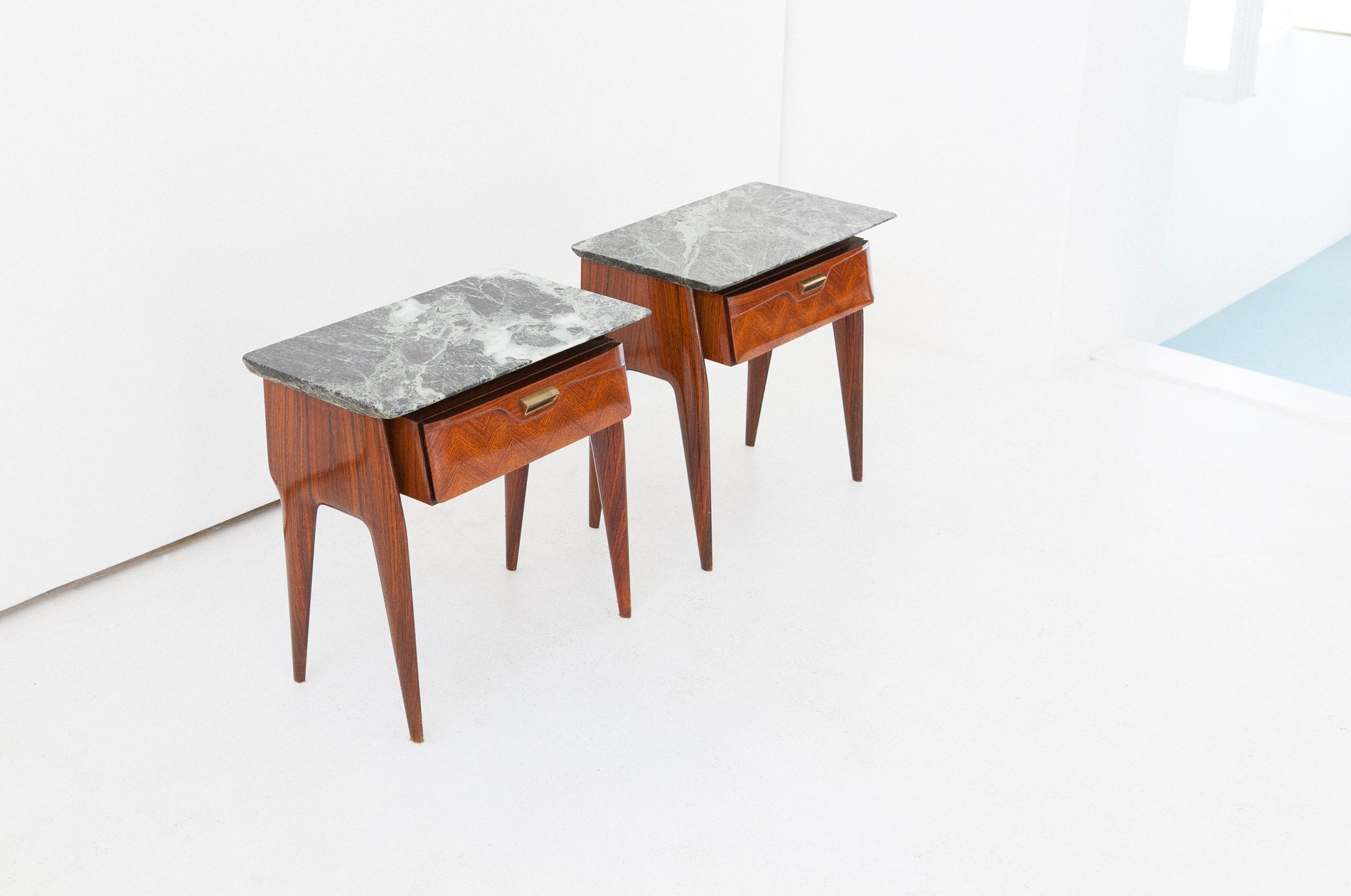 Vintage Italian Mid Century Modern Marble Brass Wood Bedside Tables Nightstands 1950s Previous Next