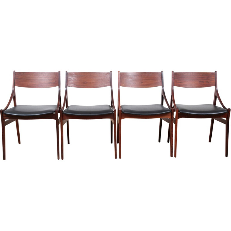 Set of 4 Vintage Scandinavian Rosewood Scandinavian Chairs - 1960s