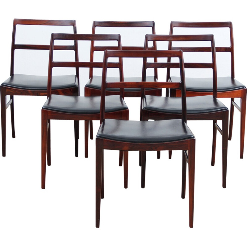 Set of 6 vintage scandinavian chairs in Rio Rosewood model 42 - 1960s