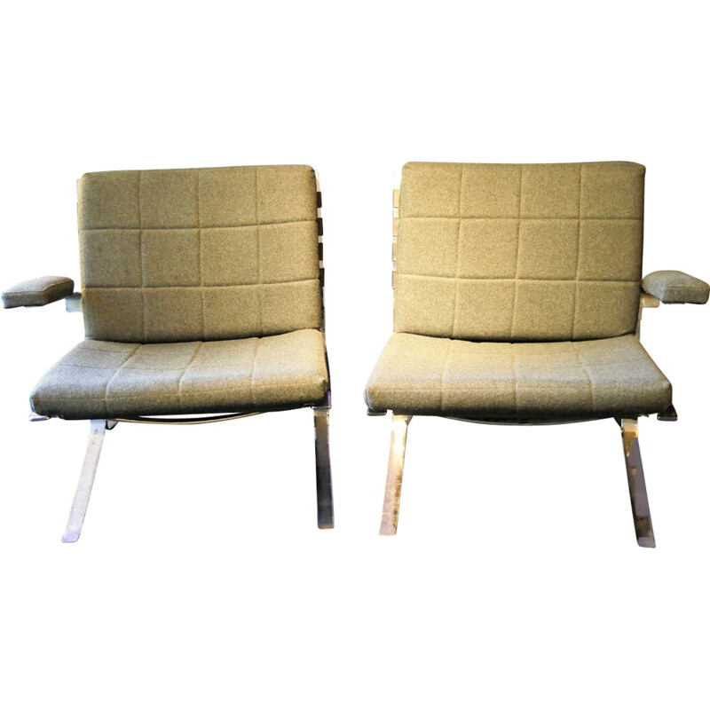 Pair of vintage Joker armchairs without arm by Olivier Mourgue for Airborne - 1960s