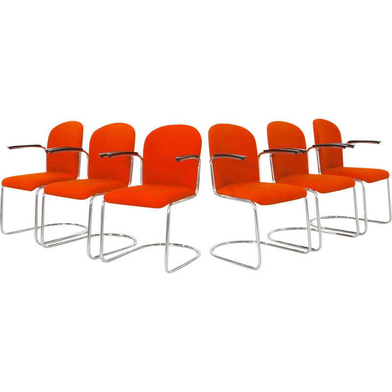 Set of 6 Orange Chairs model 413 R by W.H. Gispen for Dutch Originals - 1937