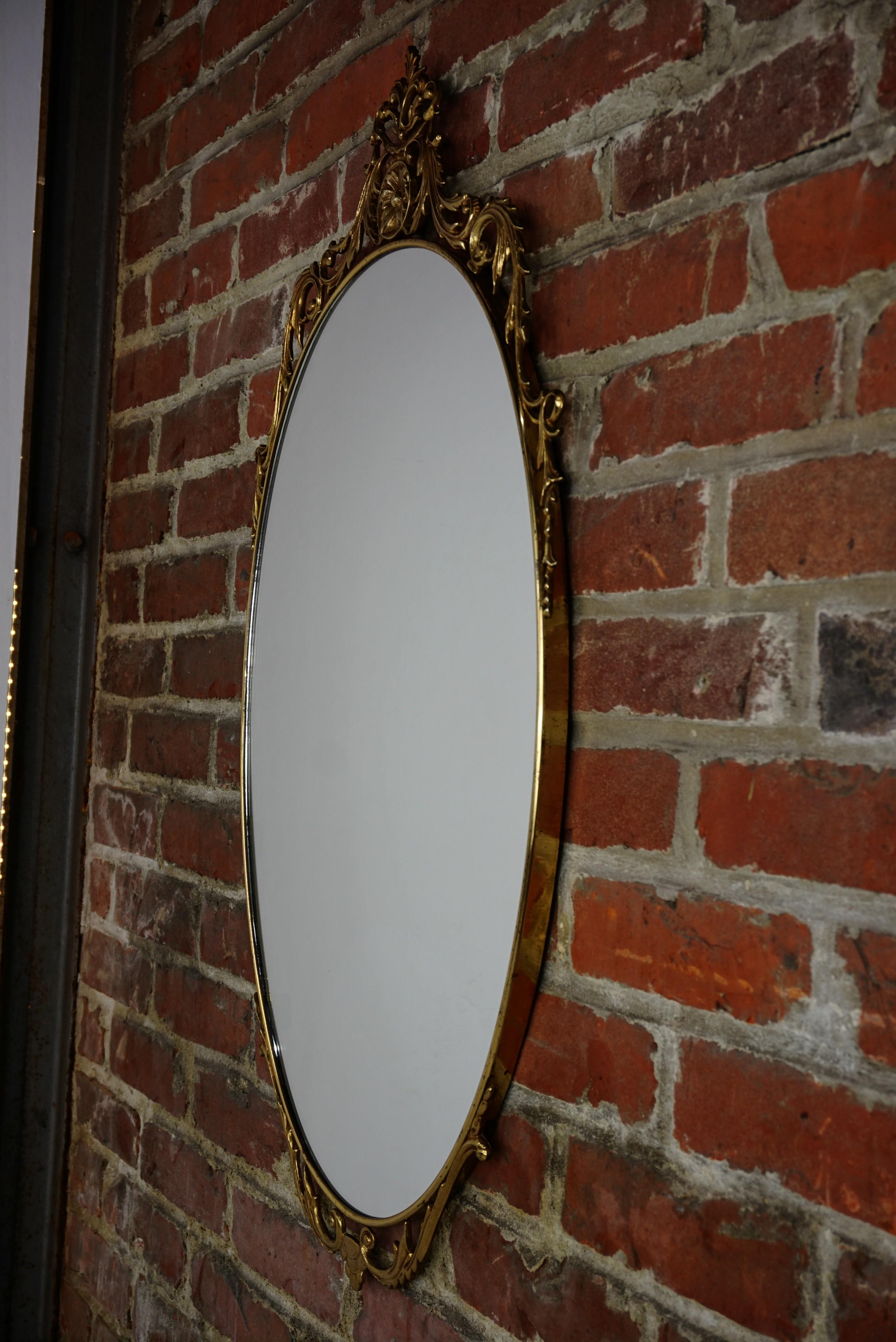 Vintage venetian style oval mirror in brass - 1940s ...