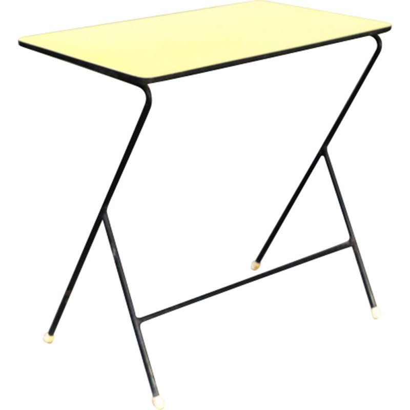 Vintage Metal Side Table Yellow Top By Pilastro   1960s