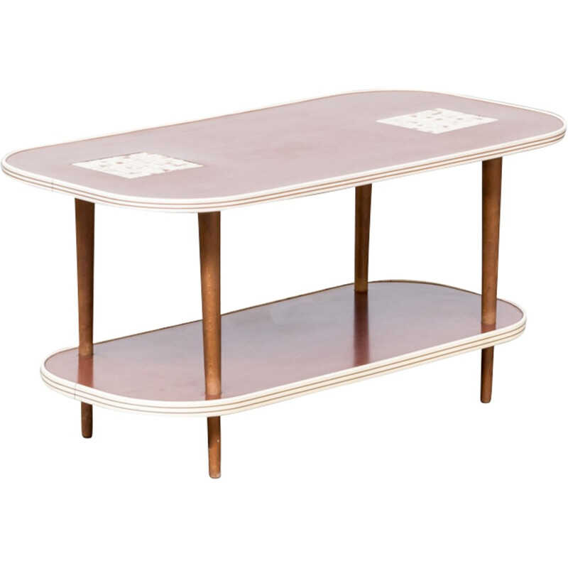 Vintage double worktop side table with tile inlay - 1960s