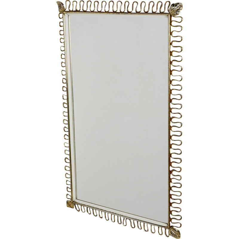 Rectangular brass mirror by Joseph Franck - 1950s