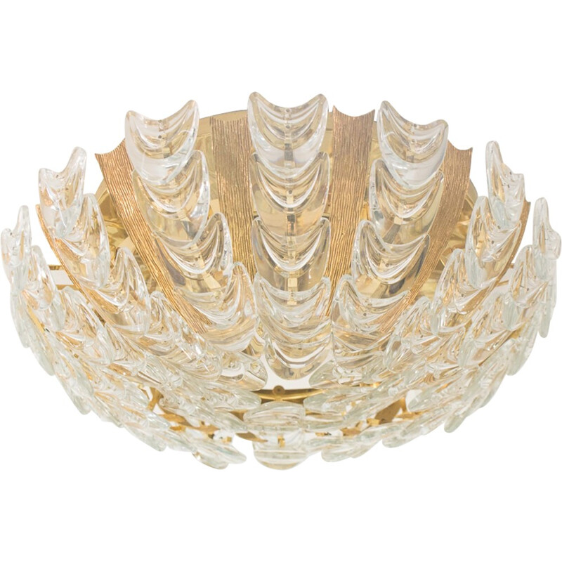 Vintage German Gilt Brass & Crystal Ceiling Lamp by Palwa - 1960s