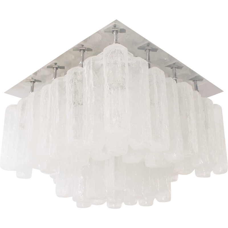 "Large Ice Glass Ceiling Lamp ""Granada"" by Kalmar - 1960s"