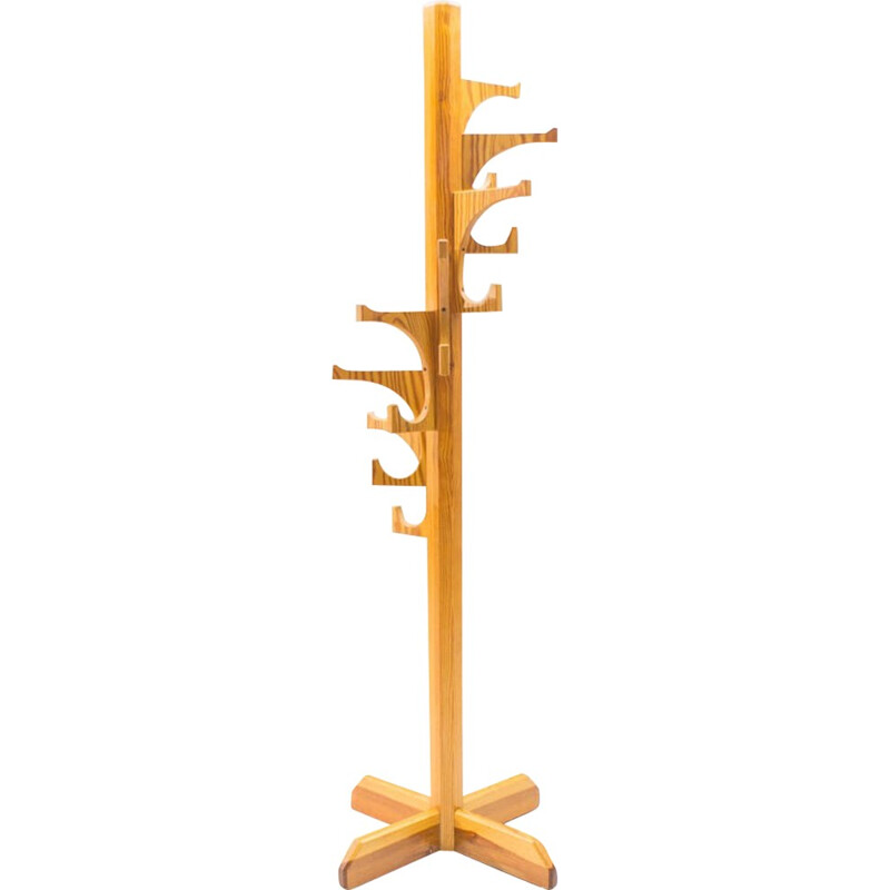 Vintage French Pine Coat Stand - 1960s