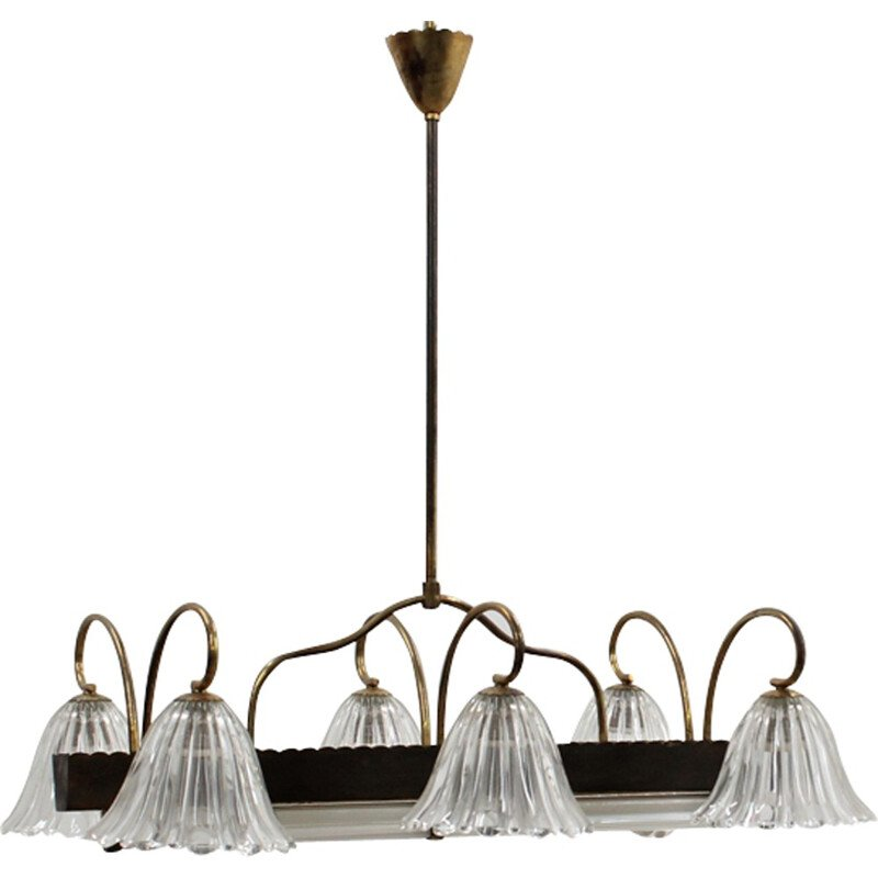Vintage Murano glass large pendant chandelier by Barovier & Toso - 1940s