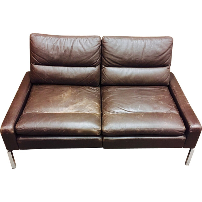 Vintage two seater sofa in leather and chrome - 1960s
