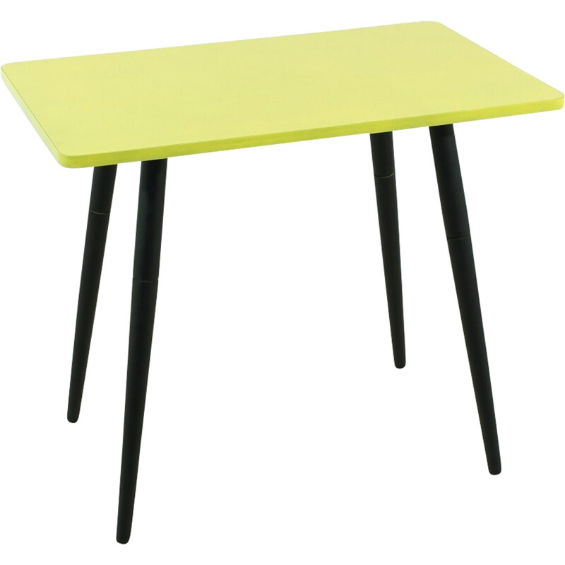 Vintage small yellow side table - 1950s