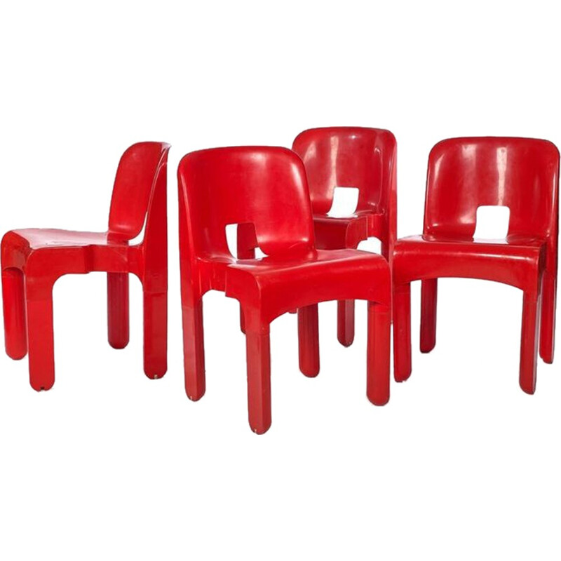 Vintage set of 4 red chairs by Joe Colombo - 1960s