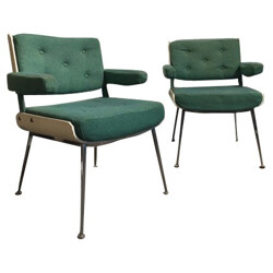 Pair of armchairs in green fabric and metal, Alain RICHARD - années 1960s