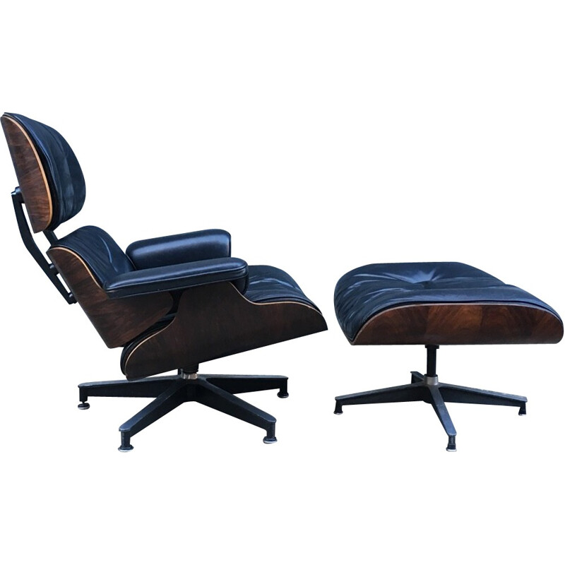 Vintage Leather Rosewood Rio armchair with its otoman by Herman Miller - 1950s