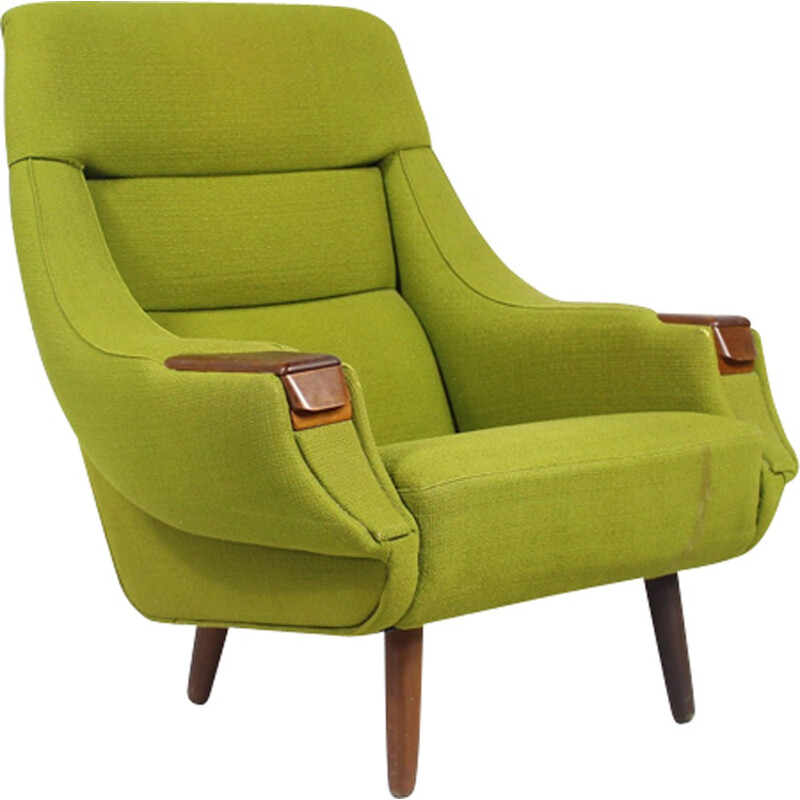 Vintage green armchair in Rosewood by H.W. Klein - 1960s