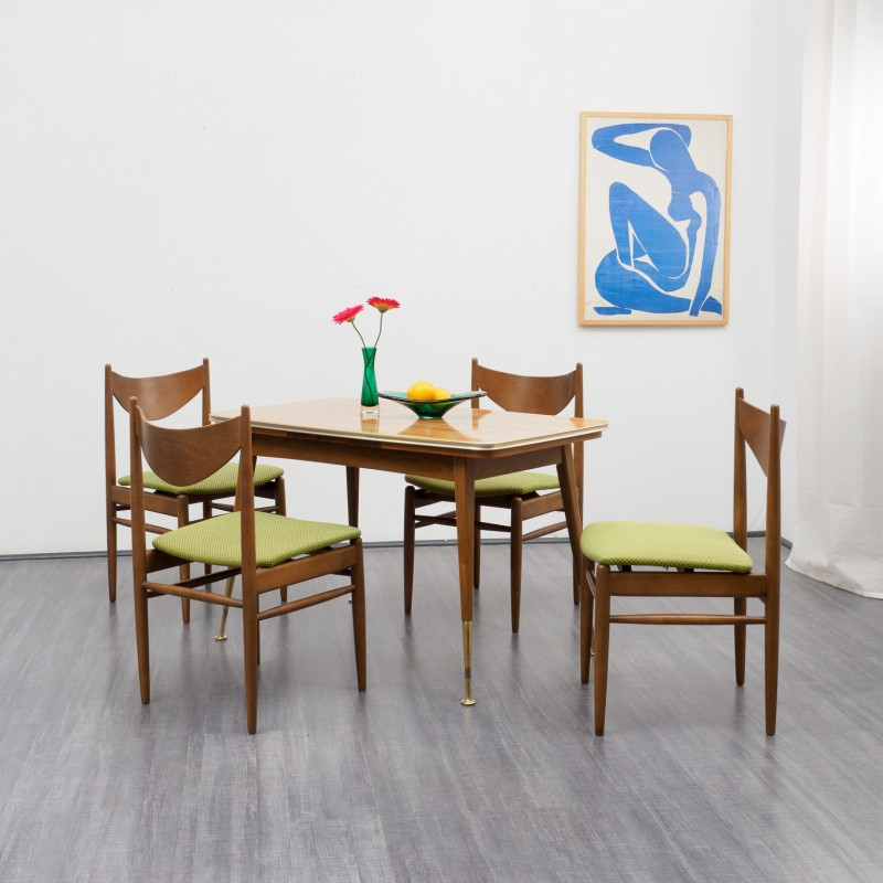 & Set of four green vintage dining chairs - 1960s - Design Market