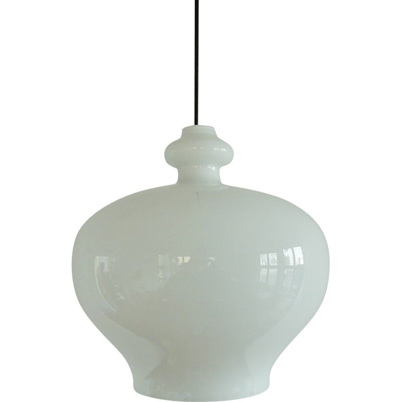 Large size white glass pendant lamp by Hans Agne Jakobsson for Markaryd, Sweden - 1960s